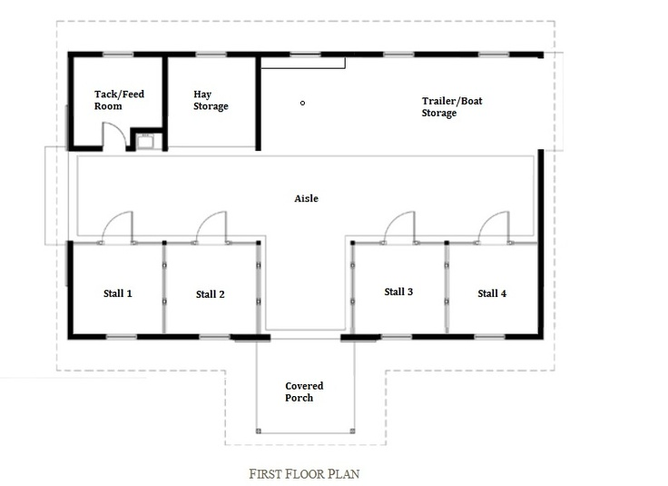 Barn floor plan stall 1 retrofitted as a chicken coop 2 for Horse barn layouts floor plans