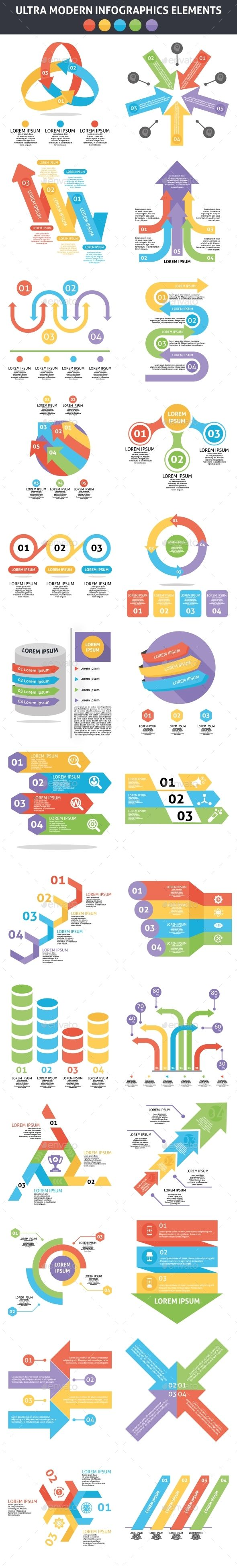 Ultra Modern Infographics Elements Templates PSD, Vector EPS, AI Illustrator