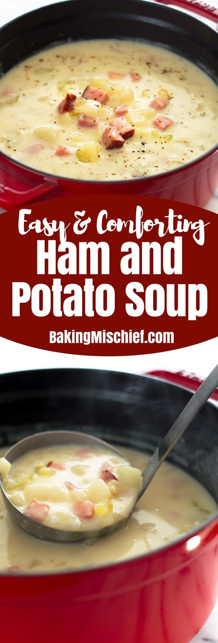 Healthy ham and potato soup is an easy, fast, and low-calorie dinner and one of my favorite busy weeknight meals. From BakingMischief.com