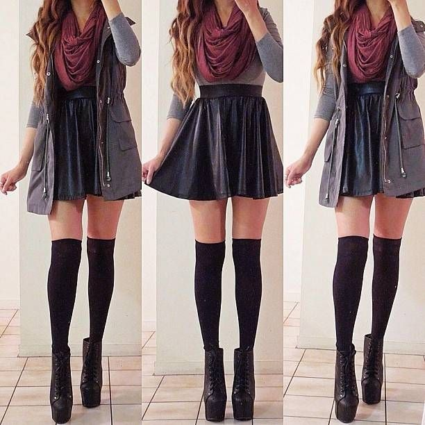 Hot Black Pleated Faux Vegan Leather Skater Skirt Mini Circle A Line Flare | eBay