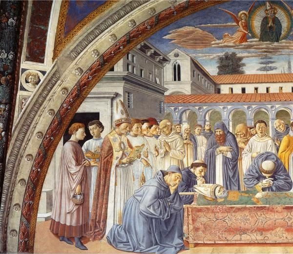❤ - BENOZZO GOZZOLI (1421 - 1497) - St. Augustine - Funeral of St. Augustine (detail).1464-64. Fresco. Apsidal Chapel of Sant' Agostino, San Gimignano, Italy.