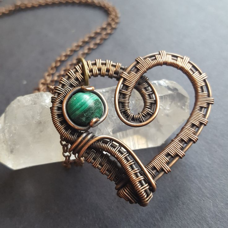 Heart Necklace Copper, Valentines Day Gift, Wire Wrapped Heart Pendant, Valentines Jewelry, Malachite Necklace, Green Malachite Pendant by WireMoonJewelry on Etsy