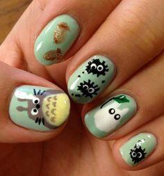Nail Art Whimsy - It's Studio Ghibli's #Totoro!  I'm sooo getting this #nail #art asap!