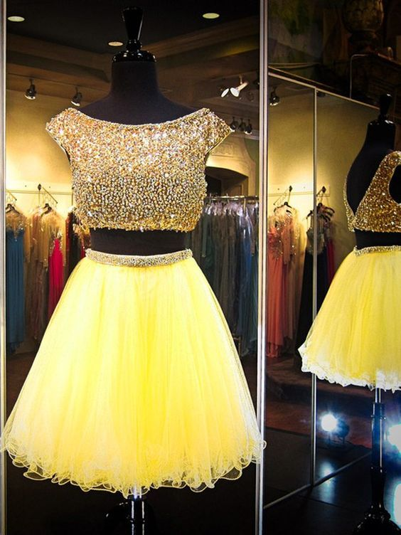 Yellow Prom Dress,Backless Prom Dress,Two Pieces Prom Dress,Fashion Homecoming Dress,Sexy Party Dress, New Style Evening Dress