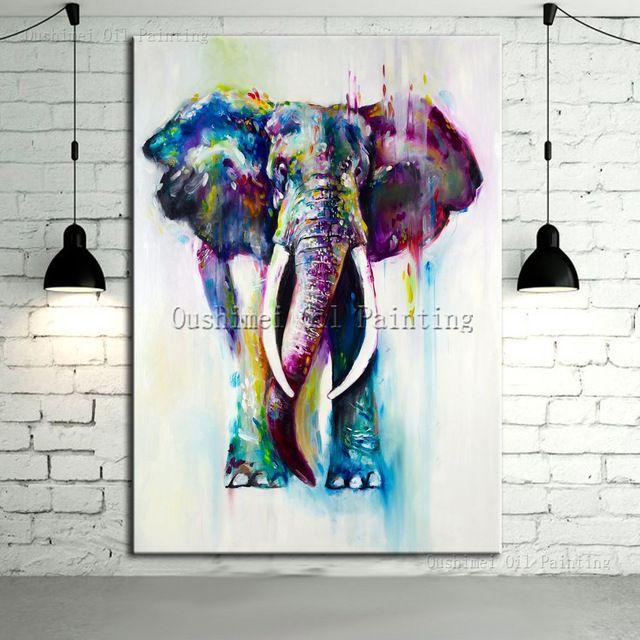 Color pintado a mano animales pintura al óleo colgar cuadros moderna imagen del elefante para la decoración casera agua corriente lona de los ciervos pintura
