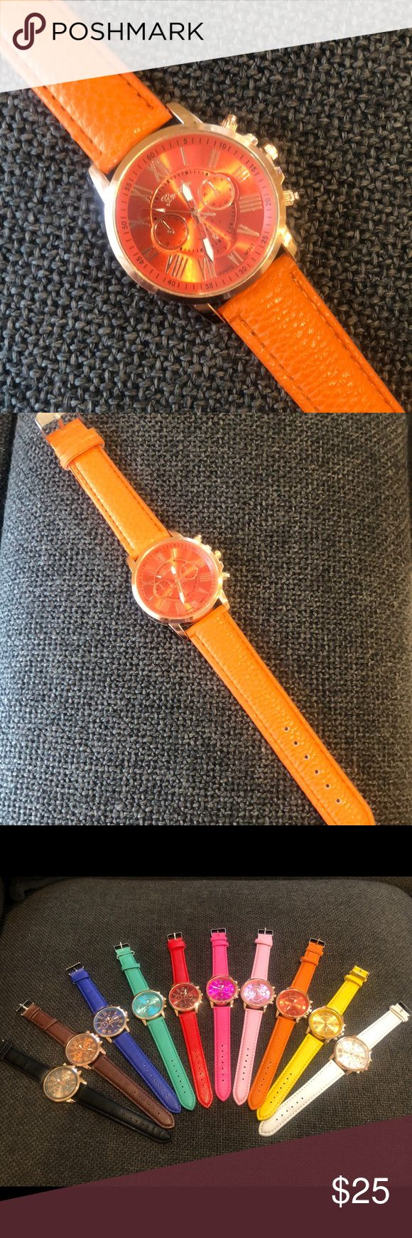 Geneva Quartz Women's Watch - Orange Case material: alloy;  Band material: leather  Watch case diameter(cm): approx 3.9; Band length(cm): 22.  Movement: quartz;  Display: analog  3 small sub-dials can not work, just for decoration, not functional Watch color: Orange Geneva Accessories Watches
