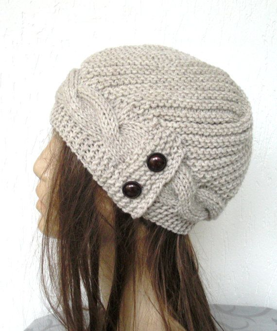 Hand Knit  Hat- winter hat - Womens hat  Cloche hat  in  Oatmeal Beige  Winter Christmas Accessories  Fall Autumn Winter  Fashion. $35.00, via Etsy.