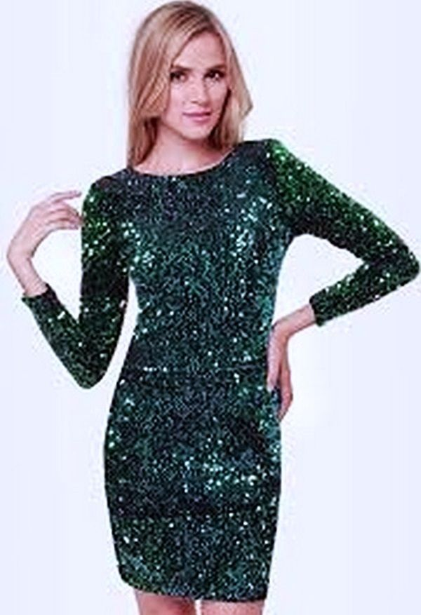 Elegant mini green Sequin dress in size S #mayora #Sexy #Cocktail