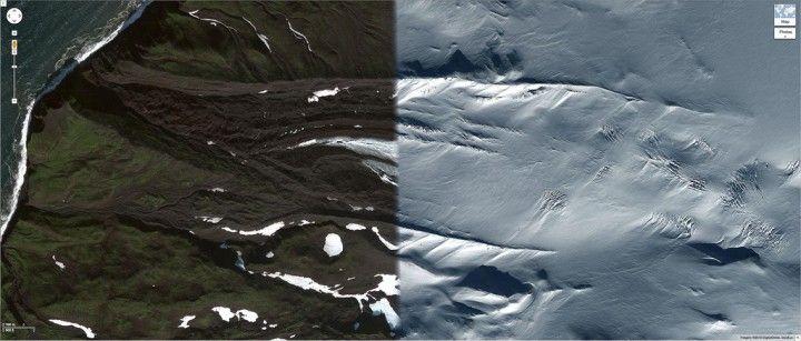 La vue satellite de Google Maps utilise un assemblage d'images prises à des mois ou des années d'intervalle, l'artiste Daniel Schwarz a cherché les endroits où des espaces temporels différents se rencontrent montrant le changement des saisons et de la météo. via:laboiteverte.fr
