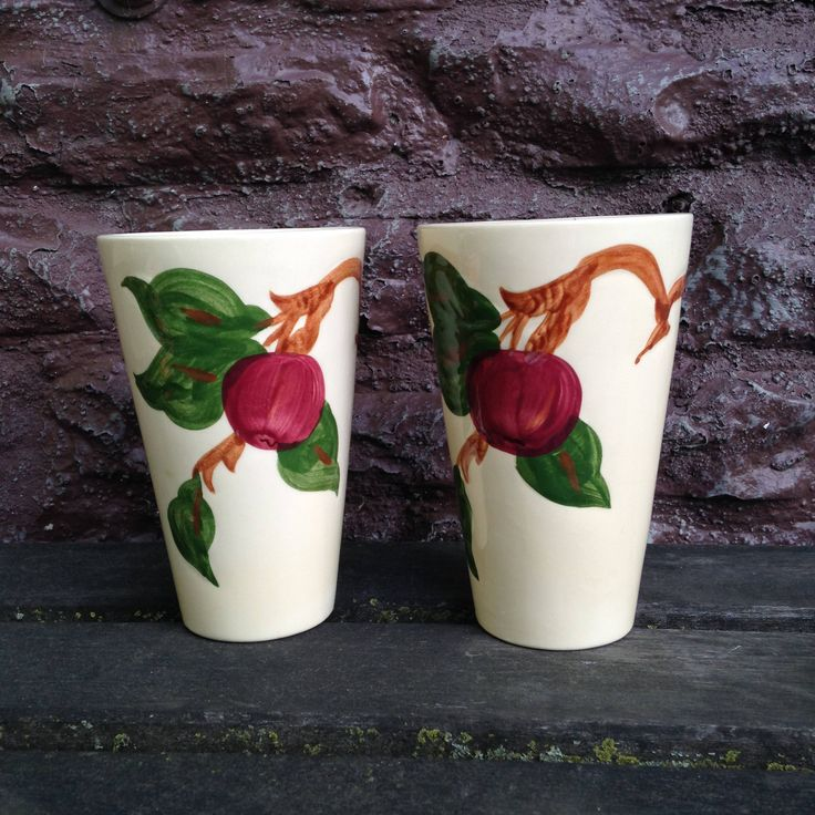 Franciscan Apple USA 1940's Tumblers Set of TWO  Water Beverage Glasses American Made by ThePinkVintageRose on Etsy