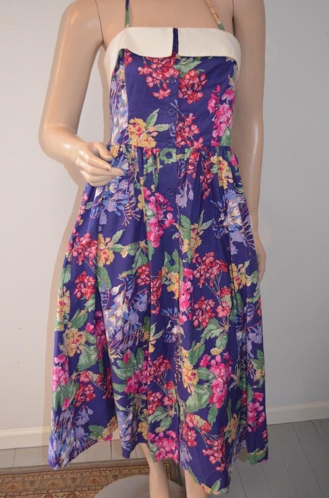 Vintage Laura Ashley Floral Dress Ireland Halter Romantic Tea Dress Size Medium Purple Pink Flowers by luvkitsch on Etsy