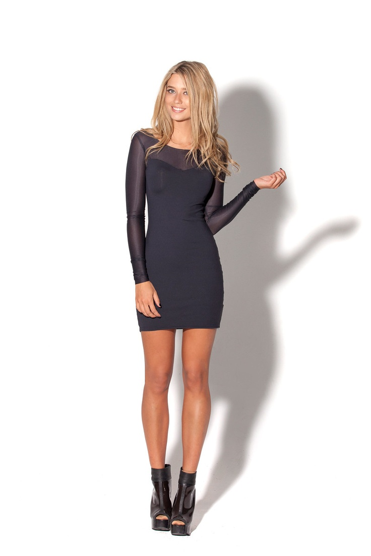 Matte Vs Sheer Long Sleeve Dress by Black Milk Clothing