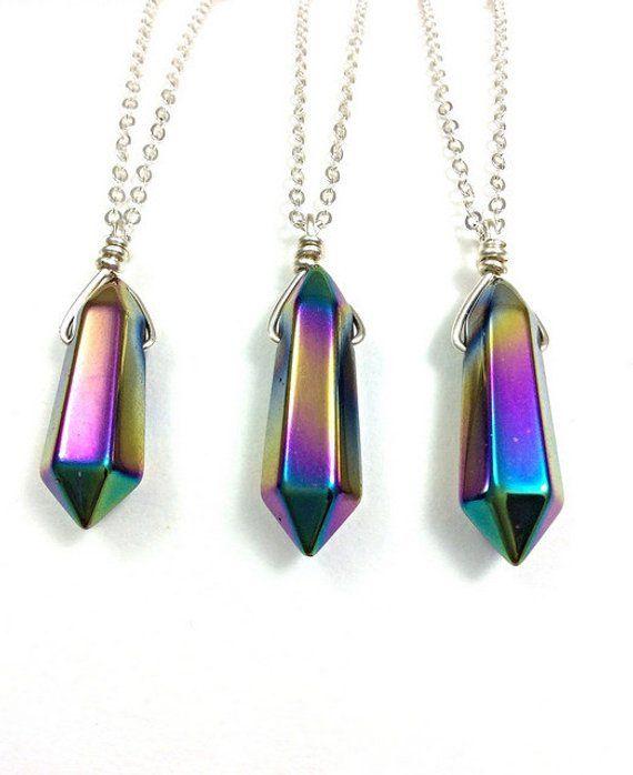 Rainbow titanium point crystal gemstone chain pendant necklace Boho Jewellery