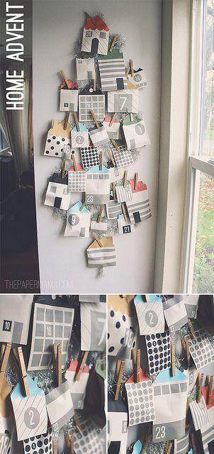 Home Advent Calendar with free printables! DIY here: http://thepapermama.com/2012/12/day-32-home-advent-calendar.html