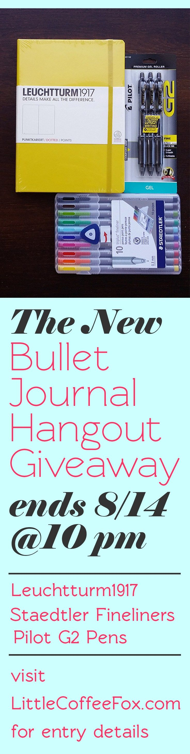 Celebrate my new bullet journal message board by participating in my biggest giveaway ever! The giveaway ends August 14th, so make sure you click the link to learn how to enter up to FIVE TIMES! Good luck!