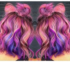Combine purple and pink for a lovely hair!