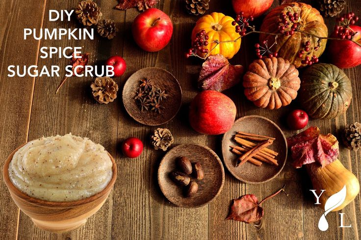 Pumpkin Spice Scented Sugar Scrub  1-3/4 cup brown sugar 1/4 cup white sugar 1 drop each cinnamon, clove, ginger, nutmeg essential oils 1/4 cup almond or jojoba oil 1 TBS honey  Combine sugars in a bowl. Mix oils and honey together in separate bowl. Combine liquid with sugars and stir. Add more oil or sugar if necessary. Transfer to mason jar or other container.