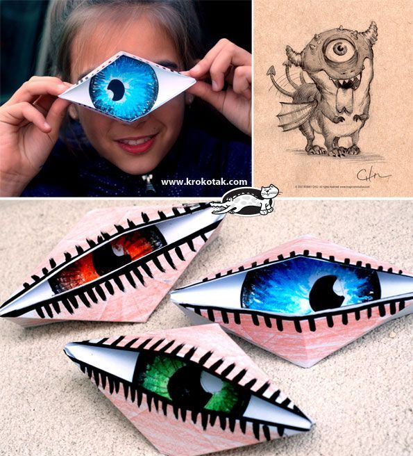 Spooky! Winking eye origami craft for kids! #Halloween #prek #craft (repinned by Super Simple Songs)