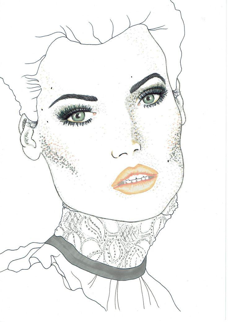 "Illustrator: Emmelie Strand Inspiration: Kicks ""your beauty magazine"" Technique: Black inc and promarker"