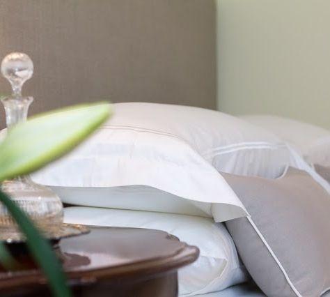 Simple Taupe Cushions with White Piping. How divine!!! http://shop.lamiabellacasa.com.au/ancona-cushion/