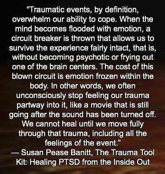 Traumatic events, by definition, overwhelm our ability to cope. When the mind becomes flooded with emotion, a circuit breaker is thrown that allows us to survive the experience fairly intact, that is, without becoming psychotic or frying out one of the brain centers. The cost of this blown circuit is emotion frozen within the body. In other words, we often unconsciously stop feeling our trauma partway into it, like a movie that is still going after the sound has been turned off.