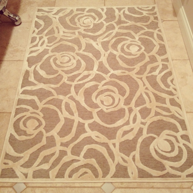 I am in love with this rug for my bathroom...I just wish I knew where it came from!  Anyone?