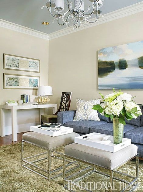 """Wall paint (""""Natural Wicker"""" #OC-1); ceiling paint (""""Silver Gray"""" #2131-60); trim paint (""""White Dove"""" #OC-17): Benjamin Moore & Co.,"""