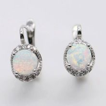 Beautiful Cute Simple Round Wholesale Jewelry White Fire Opal 925 Silver Stamp Earrings(China (Mainland))