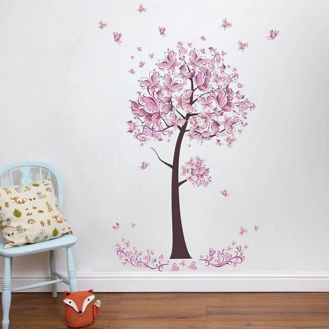 Pink Butterfly Flower Tree Wall Stickers Decals Girls Women Flower Mural Vinyl Wallpaper Home Living Room Bedr Flower Mural Tree Wall Stickers Sticker Wall Art
