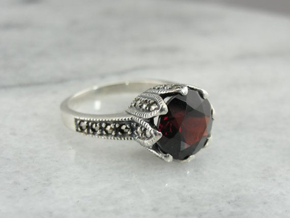 Deep Red Garnet Marcasites Contemporary Art Deco by MSJewelers, $175.00
