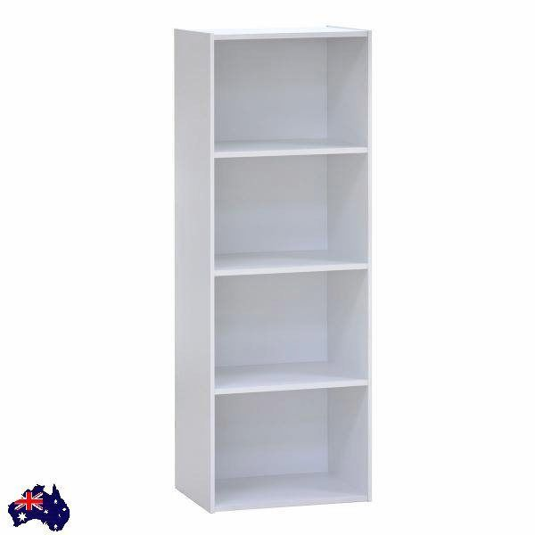 Bookcase Cupboard Cabinet Shelf Storage Shelves Wooden White Study Space Dvd New