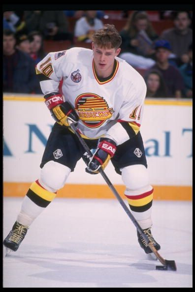 Leftwinger Pavel Bure of the Vancouver Canucks during a Canucks practice at the Pacific Coliseum in Vancouver Canada Mandatory Credit Allsport...