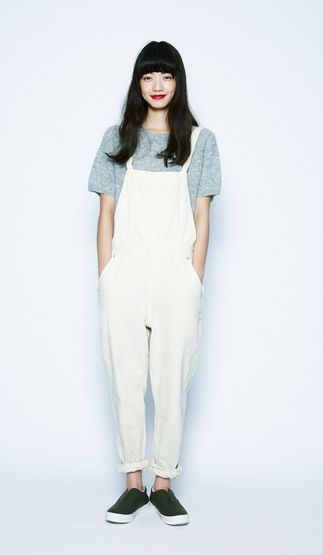 This look is achieved through the perfect balance of white overalls against a soft mohair short-sleeved sweater, by niko and ...