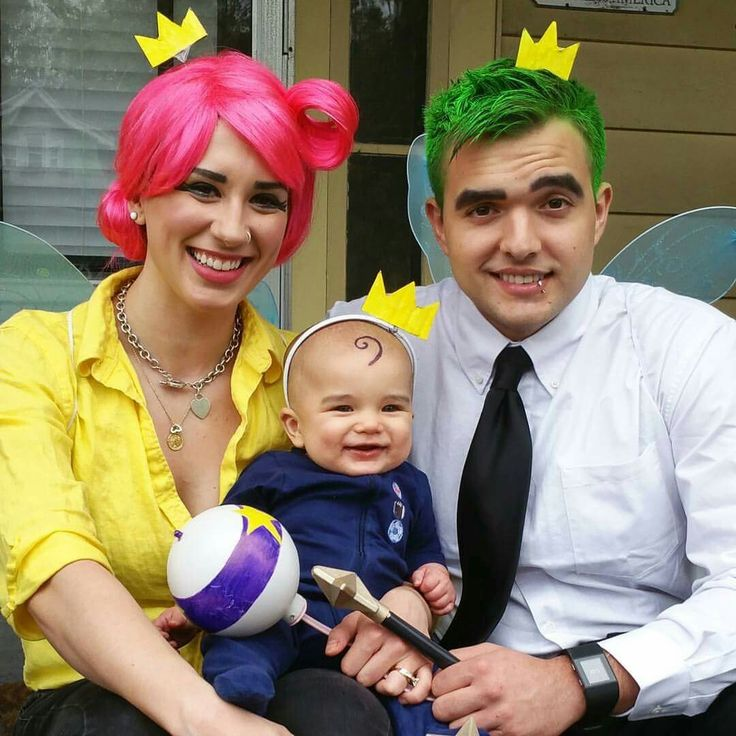 Wanda, Cosmo, and Poof costumes/cosplay. #FairlyOddParents #Nickelodeon #Cosmo #Wanda #Poof #FamilyCostumes #Halloween