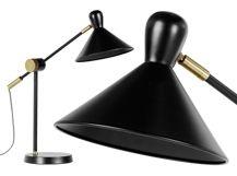 Ogilvy, lampe de table, noir mat et laiton vintage