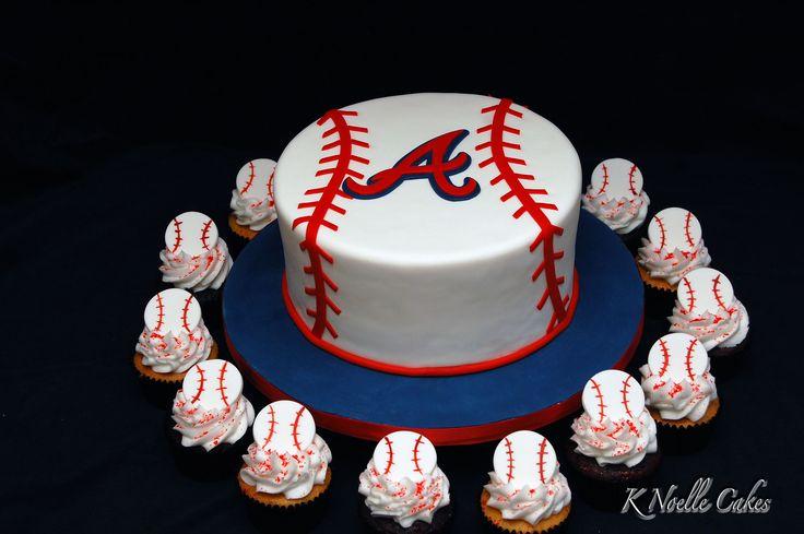 Atlanta Braves theme cake with cupcakes!
