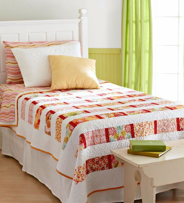 34 best Beautiful Bed Quilts images on Pinterest Florals and solids combine for a stunning but easy to sew bed quilt . Bedroom Quilts. Home Design Ideas