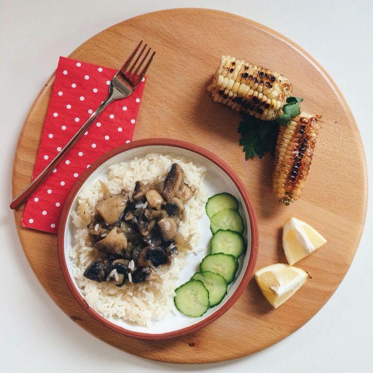 White wine mushroom rice with grilled corn
