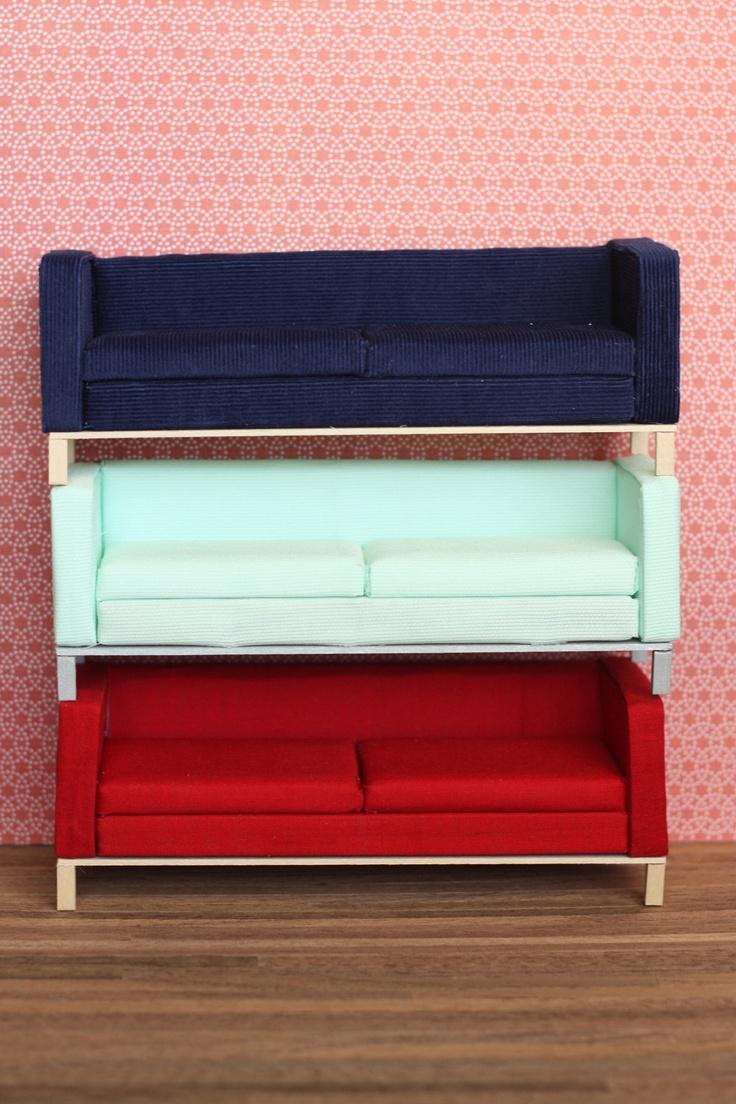 Modern Miniature Red Pop Sofa (clean Modern Style) Tinymodern, Via Etsy