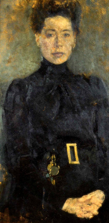 """Olga Boznańska,  """"Portret Gertrudy Dziewickiej"""", 1897, olej na tekturze, 78 x 39 cm, Muzeum Narodowe, Kraków"""