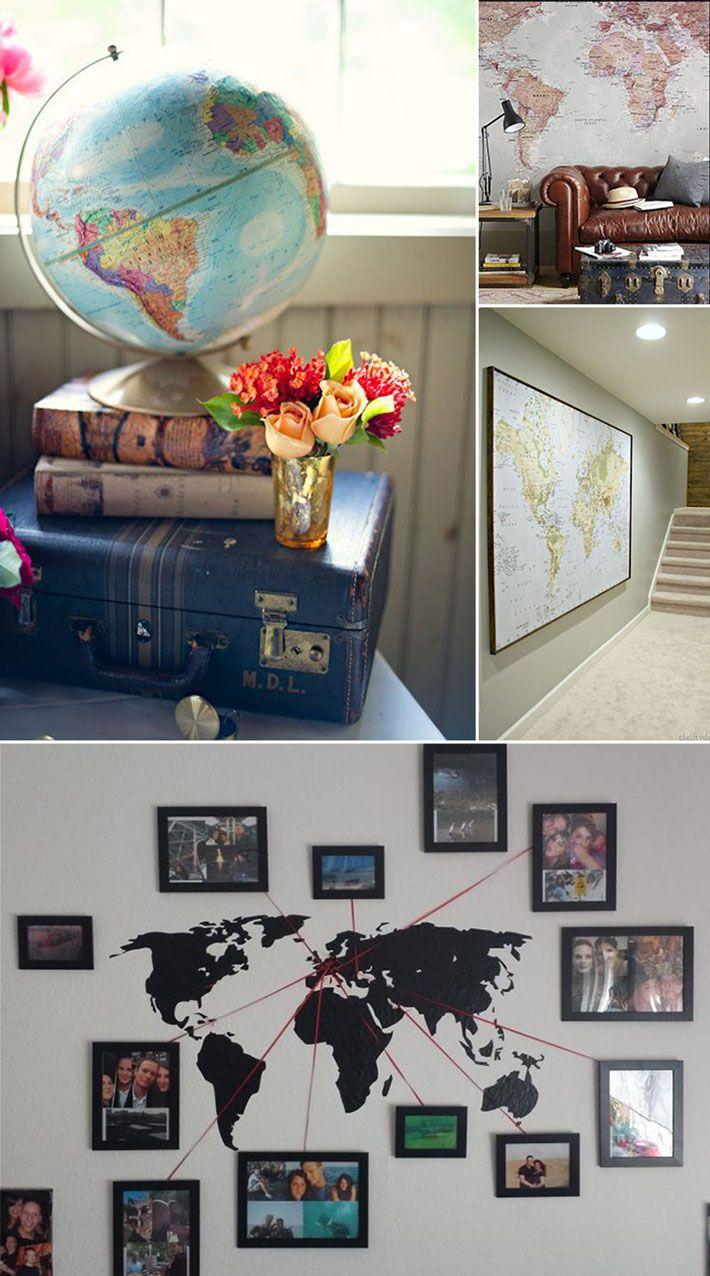 Decoração com mapas, temas de viagem, mapa mundi, lembranças e muito mais. Veja as dicas de como decorar a casa no blog!