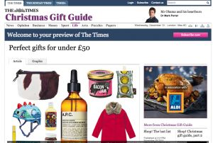 Zulucow's cowhide purses in #TheTimes! in the Christmas Gift Guide 2014!