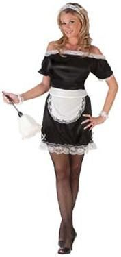 Classic French Maid Costume - Calgary, Alberta. This French Maid costume is ideal for Halloween, theme parties and your special someone. This is a great all occasions French Maid costume.  The dress pulls over the head and is a loose fitting black nylon like material. There is lace ruffle around the neck and the base. Fit it to your shape by tying on the separate white apron. To finish the look are two elastic lace wrist cuffs and a white lace headpiece.