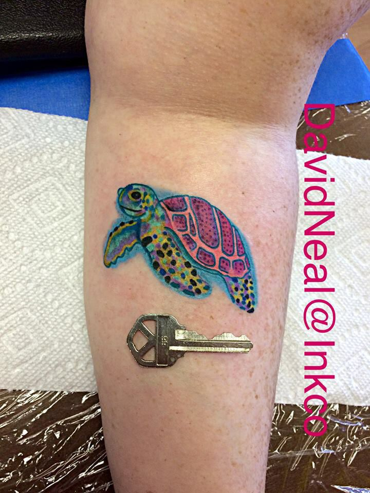 Watercolor sea turtle tattoo, courtesy of David Neal at The Ink Company Hattiesburg MS