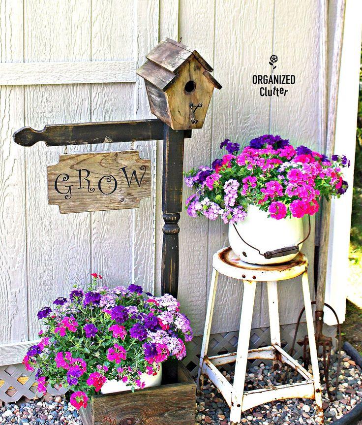 A Junk Garden Makeover for a Dated Birdhouse Planter organizedclutter.net