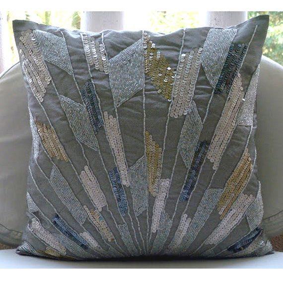 handmade silver decorative pillow cover geometric sequins. Black Bedroom Furniture Sets. Home Design Ideas