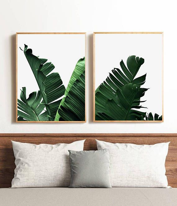 Set Of 2 Banana Leaves Prints Green Leaves Set Of Two Print Leaf Decor Banana Leaf Poster Palm Leaf Digital Download Green Home Decor With Images Palm Leaf Decor Leaf Decor