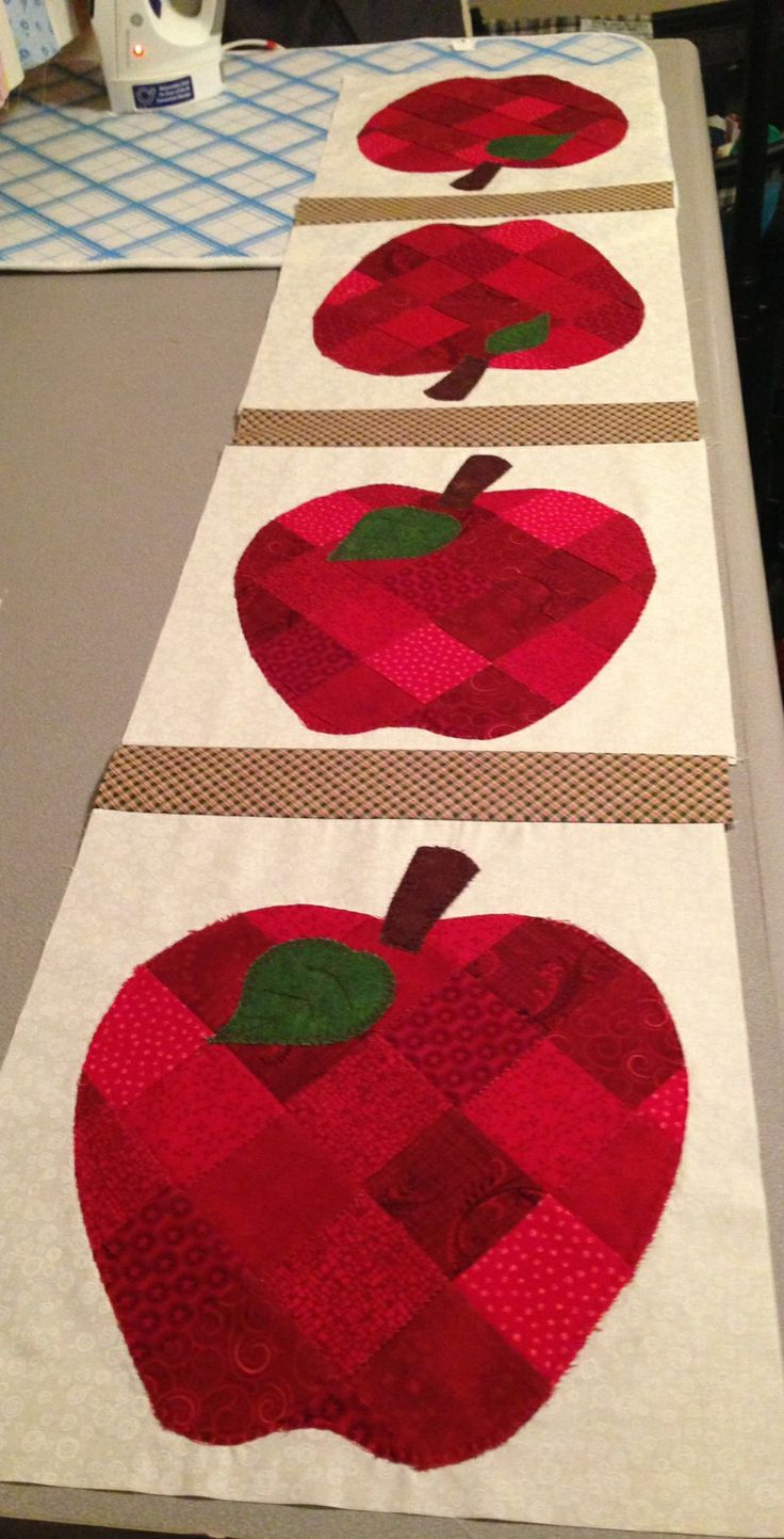 Just Finished This Apple Table Runner For My Kitchen Table. Love It!