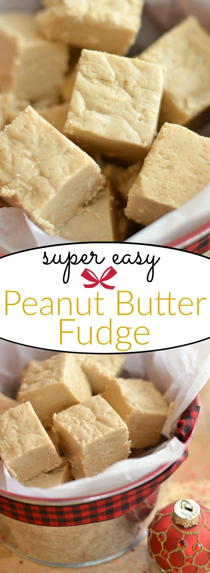 Delicious and easy peanut butter fudge recipe. Great idea for a homemade holiday food gift.