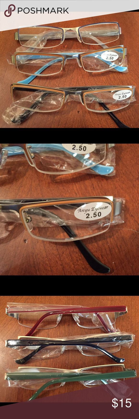 Set of 3 Reading Glasses 3 Pair of Reading Glasses. Never worn, one is a bronze color, one is a gold, and one is a black. Purchased them thinking I could get by without going and getting REAL GLASSES!  So they still have the plastic in them.NWT Anyu Eyewear Accessories Glasses